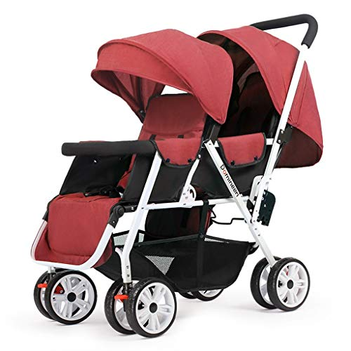 Big Save! Double Stroller, Twin Tandem Baby Stroller, 5 Points Safety Belts, Foldable Design for Eas...