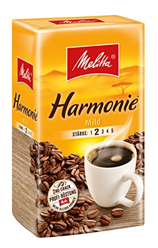 Melitta Gemahlener Röstkaffee, Filterkaffee, feines Aroma, milder R?stgrad, St?rke 2, Harmonie Mild, 1er Pack (1 x 500 g)