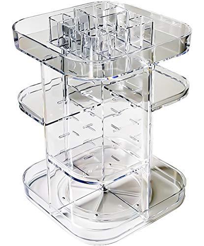 UEK Make-up-Organizer, 360 Grad drehbar, verstellbar, Acryl, transparent, für Kosmetik-Arbeitsplatte, großes Fassungsvermögen, Kristalldisplay für Lippenstifte, Lotionen, Parfüme