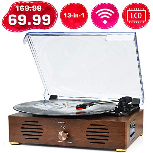 Best Review Of Record Player Turntable with Speakers 13-in-1 Wireless Portable LP Phonograph TF Card...