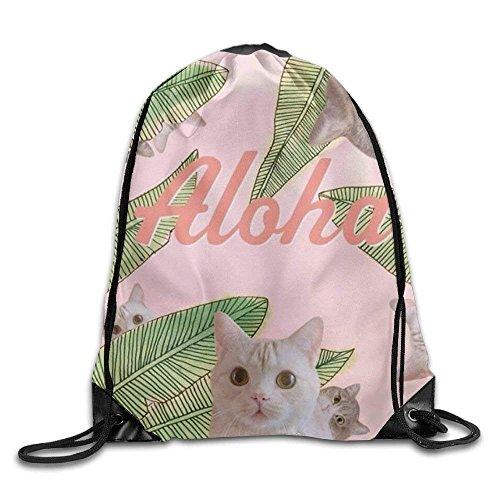 Etryrt Mochilas/Bolsas de Gimnasia,Bolsas de Cuerdas, Cat Aloha Drawstring Backpack Rucksack Shoulder Bags Training Gym Sack For Man and Women