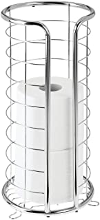 Best mDesign Decorative Metal Free Standing Toilet Paper Holder Stand with Storage for 3 Rolls of Toilet Tissue - for Bathroom/Powder Room - Holds Jumbo Rolls - Chrome Reviews