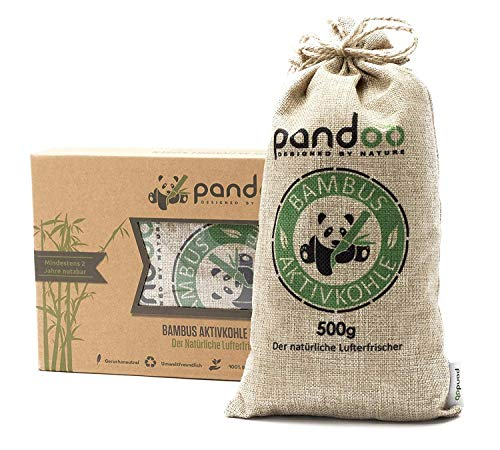 Pandoo natural bamboo air freshener with active charcoal, air purifier and air dehumidifier, room air purifier and air freshener, absorbs odours and filters harmful substances and allergens