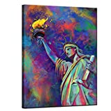 sechars Modern Canvas Wall Art Colorful The Statue of Liberty Painting Printed on Canvas Artwork Fashion New York Pop Posters Contemporary Art for Home Bedroom Office Decor Gallery Wrap Ready to Hang