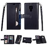 Artfeel Hülle für Huawei Mate 20 Flip Brieftasche Hülle Schwarz mit 9 Kartenfächer,Premium Leder Magnetisch Stand Handyhülle mit Reißverschluss Tasche und Handschlaufe Schutzhülle