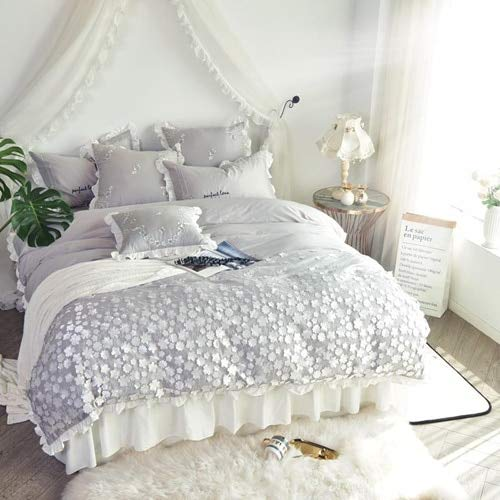 RONGXIE Egypte Katoen luxe bloemen Beddengoed set Applique Dekbedovertrek set Bed rok kussenslopen Queen size