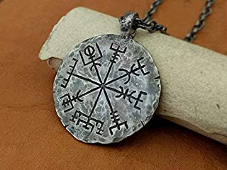 925 Sterling Silver Viking Compass Vegvisir Pendant Hand Hammered Norse Jewelry Necklace