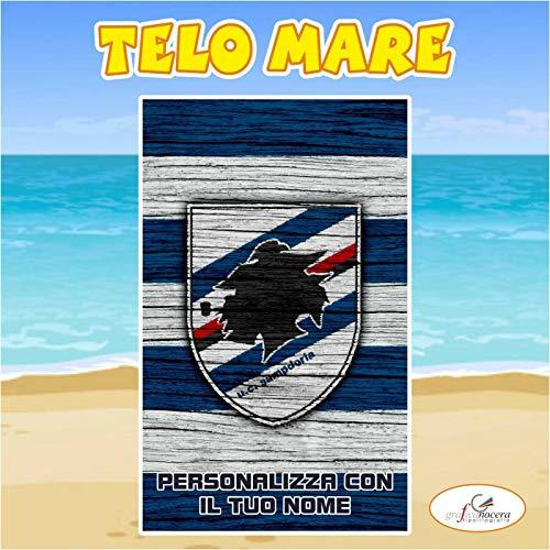 Telo Mare in spugna Sampdoria squadra Serie A nome personalizzato regalo estate (100cm X 150cm)