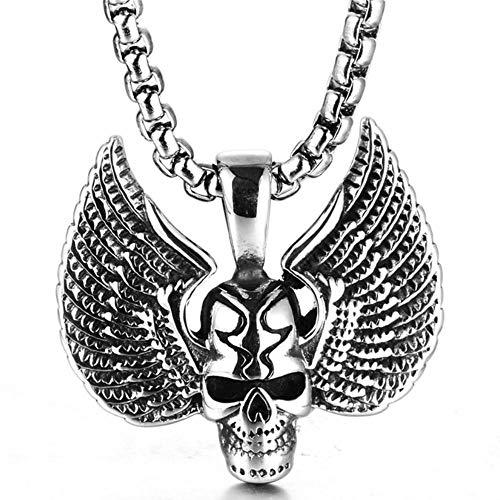 LKYH Collar Retro con Colgante de Calavera con alas Dobles de Acero Inoxidable, Accesorios de Acero Inoxidable exagerados para Hombres de Moda