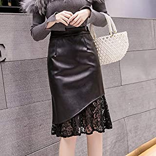 Cqqz New Women's Mid Long Stretch Pu Leather Lace Fishtail Skirt Skirt Skirt(Black,l)