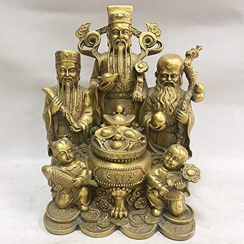 Liangliang988 Feng Shui Pure Copper Brass Sanxian Jubao Fu Lu Shou Three Gods Heimdekoration