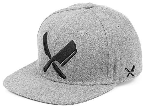Distorted People Barber & Butcher Logo Blades Wool Grey Felt Black Snapback Cap Basecap OSFA One Size
