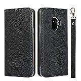 GIMTON Cover Galaxy S9, Custodia di Portafoglio con Slot Carte e Cinturino da Polso per Samsung Galaxy S9, Antiurto Magnetico Cover in PU Pelle, Nero