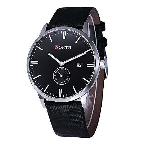 NORTH Men Watch,Business Fashion Waterproof Watches for Men,Black Leather Quartz Wrist Watch