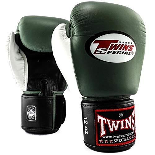 Twins Special Boxhandschuhe, Leder, BGVL-4, Olive-weiß Größe 16 Oz