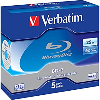 VBD-5P Verbatim Blu-Ray Bd-R 25Gb 5 Pack Jewel Case 6X 43715 Recordable Format for HDTV Recording and PC Data Storage, Uti...