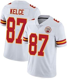 首長ケルス Chiefs Kelce #87 男子ラグビージャージ アメフトアンダーシャツ、快適なベスト、綿の半袖スポーツウェアを着用、運動に最適
