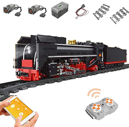SICI Technik Zug Eisenbahn Ferngesteuert Lokomotive mit Schiene und Beleuchtungsset, City Güterzug 1552 Teile Modellbausatz Kompatibel mit Lego Technik