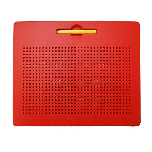 Hisoul Magnetic Ball Drawing Board, 21 x 34 Lattice Design Portable Steel Ball Writ Paint with Magnetic Stylus, Best Gifts for Children and Friends (red)