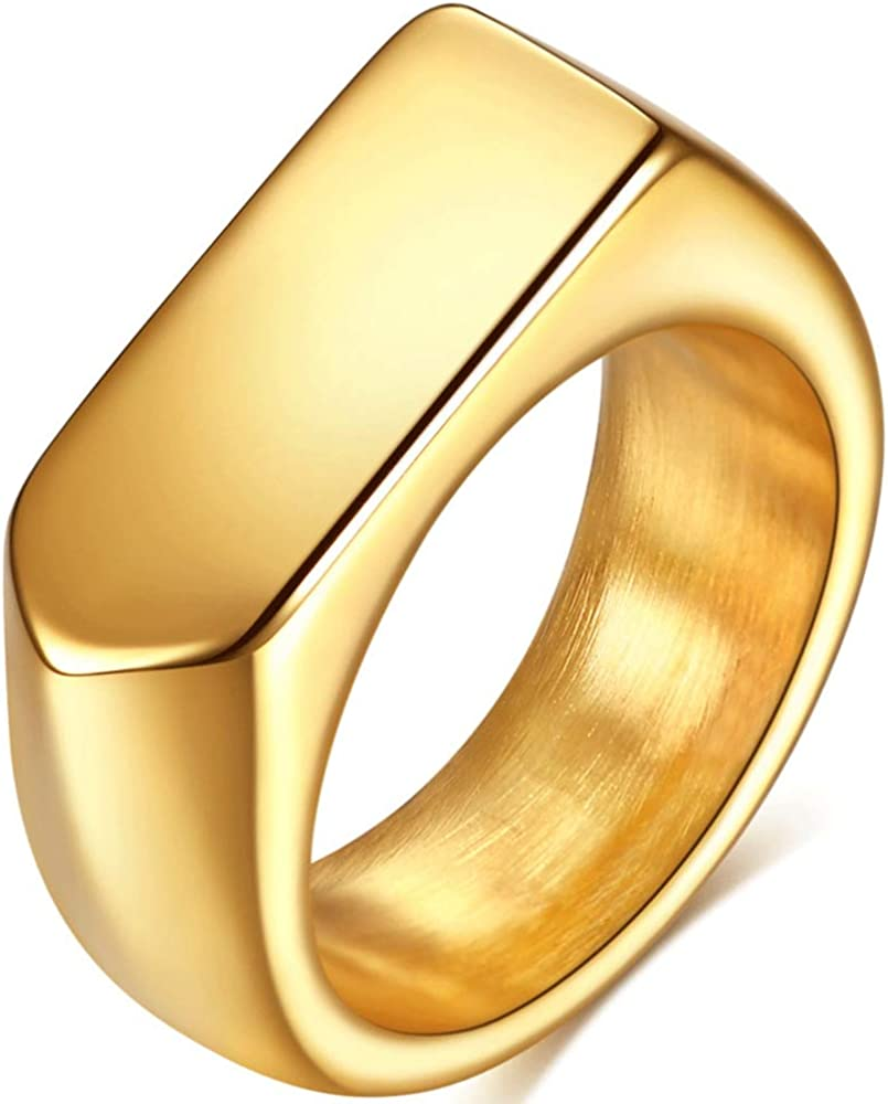 Stainless Steel Classical Simple Plain Arrow Shape Signet Style Wedding Statement Promise Anniversary Ring