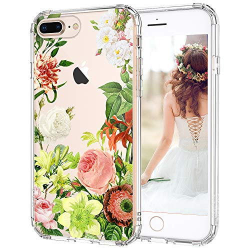 iPhone 7 Plus Case, iPhone 8 Plus Case, MOSNOVO Botany Floral Designed Clear Hard Back Cover and TPU Bumper Protective Shockproof Anti Scratch Case for iPhone 7 Plus/iPhone 8 Plus