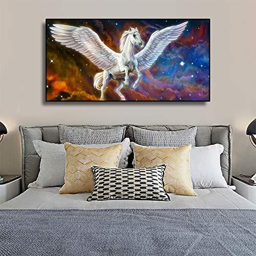 ganlanshu Leinwand Kunst Pegasus Fantasie Tier Kunst Poster Wanddekoration Moderne Familie Kinder Schlafzimmer Dekoration,Rahmenlose Malerei,30x60cm