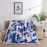 Holawakaka Blue Camouflage Sherpa Fleece Blanket Throw Soft Fuzzy Bed Sofa Couch Lounge Travel Blankets(Camouflage Blue, Twin-60x80 inch)