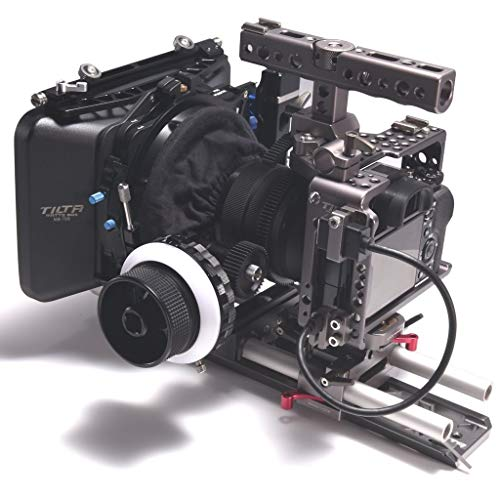 TILTA ES-T17 C für Sony Alpha A7M3 A7R3 A7S II A7R II Lightweight ES-717A rig Cage 15mm rod release baseplate + FF-T03 Follow focus + MB-T05 4*4 Mattebox + wooden handle (record function)