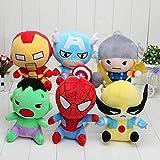 N/L Juguetes de Peluche 6 unids/Set 18 cm superhéroe los Juguetes de Peluche muñeca Capitán América Iron Man Spiderman Thor Hulk Juguete de Felpa