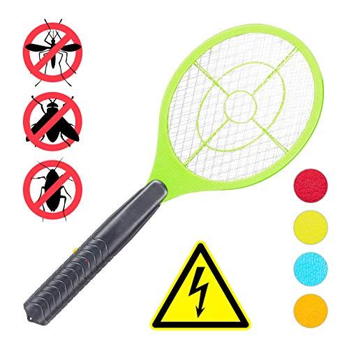 Relaxdays, hellgrün elektrische Fliegenklatsche, ohne chemische Stoffe, gegen Fliegen, Mücken & Moskitos, Fly Swatter, HxBxT: 47x17,5x3cm
