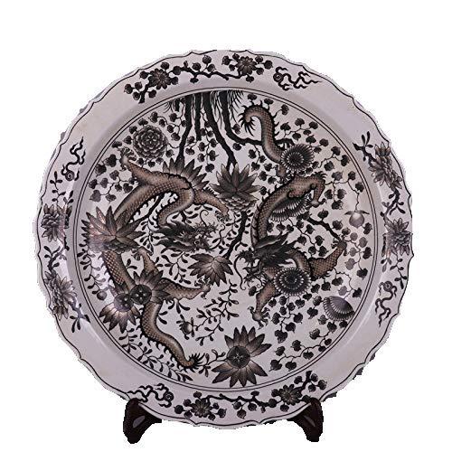 Fashion158 Inkt Kleur Dubbele Draak Figuur Vouwen Zijplaat Antiek Porselein oude dingen Ornamenten Zachte Decoraties Collectie