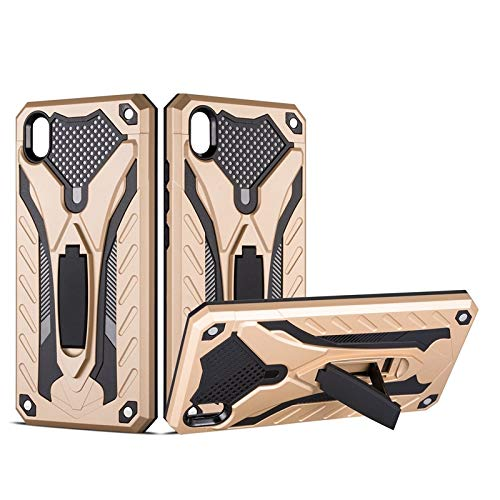 MyCase for Vivo Y91C Shockproof Dual Layer 2-in-1 Armor PC+TPU Protective Hard Stand Case (Color : Gold)