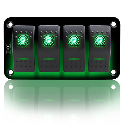 FXC Rocker Switch Aluminum Panel 4 Gang Toggle Switches Dash 5 Pin ON/Off 2 LED Backlit for Boat Car Marine Green
