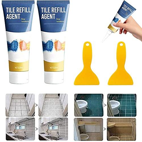 Herstelmiddel voor voegen van tegels, waterdicht anti-schimmel voegmiddel voor tegelvoegen, kleurstof en afdichtmiddel, reparatiemiddel voor voegen van tegels met schraper (120ml)