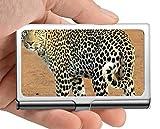 Titular de la tarjeta del nombre del negocio, titular de tarjeta salvaje del acero inoxidable del caso de la tarjeta de visita del punto del leopardo del leopardo
