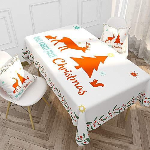 PPTS Weihnachten Tischdecke Baumwolle Leinen Tischdecke Schreibtisch Couchtisch Wasserdicht Haushaltstischdecke