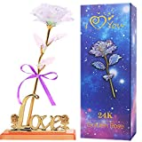 Colorful Rose Artificial Flower Rose Gift with Love Stand Unique Gifts for Mother's Day Wedding Anniversary Girl's Birthday Thanksgiving Day Christmas and Valentine's Day (Colorful)