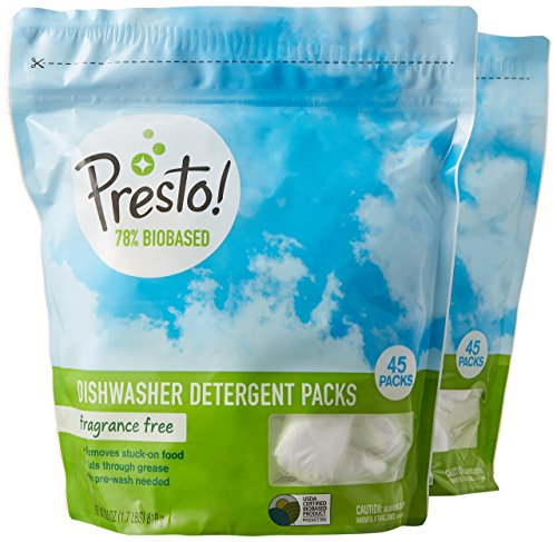 Amazon Brand - Presto! 78% Biobased Dishwasher Detergent Packs, 90 count, Fragrance Free (2 pack, 45...