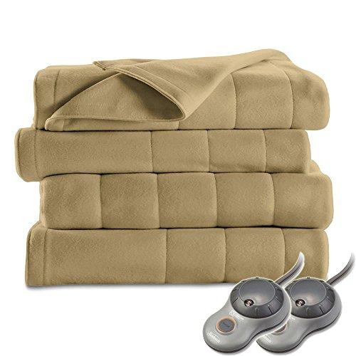Sunbeam Heated Blanket | 10 Heat Settings, Quilted Fleece, Acorn, Queen - BSF9GQS-R727-13A00