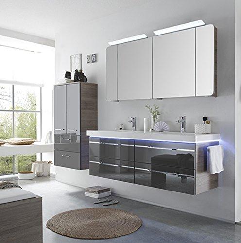 PELIPAL Balto 3 TLG. Badmöbel Set/Waschtisch/Unterschrank/Spiegelschrank/Comfort N