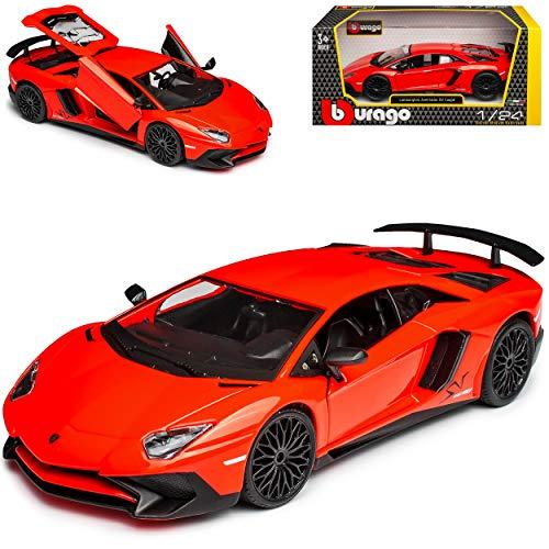 Lamborgihini Aventador LP 750-4 SV Superveloce Rot Orange Coupe Ab 2015 1/24 Bburago Modell Auto