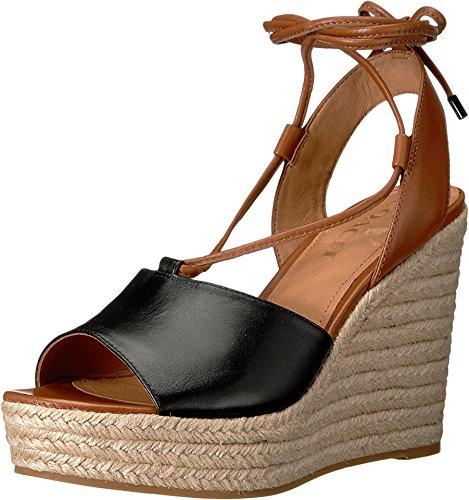 COACH Women's Hendrick Leather Sandal Black/Saddle (7.5)