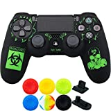 9CDeer 1 Piece of Silicone Laser Carving Protective Cover Skin + 6 Thumb Grips & Dust Proof Plugs for PS4/Slim/Pro Controller BioHazard