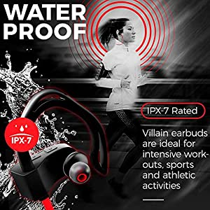 [Newest 2019] Wireless Workout Bluetooth Headphones for Running and Gym - Best Sport Earbuds for Men & Women - Waterproof IPX7 Sports Earphones - Noise Cancelling Headset for iPhone & Android (Red)