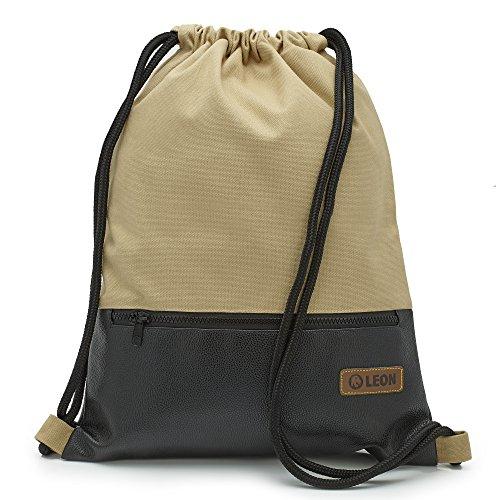 By Bers LEON Turnbeutel, große Reißverschluss Außentasche, mit Innentaschen Rucksack Tasche Damen Herren & Teenager Gym Bag Draw String (Beige_Schwarz_PU)