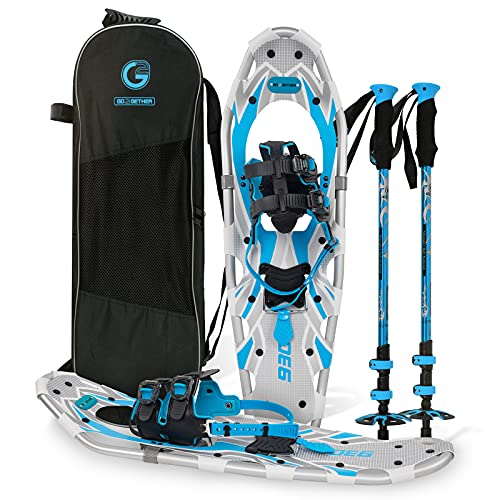G2 25 Inches Blue Light Weight Snowshoes for Women Men Youth, Set with Tote Bag, Special EVA Padded Ratchet Binding, Heel Lift, Toe Box