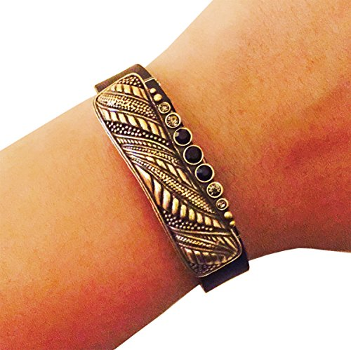 Funktional Wearables Charm to Accessorize The Fitbit Flex and Other Activity Trackers - The Alana Vintage Looking Rhinestone Charm in Gold to Dress Up Your Favorite Fitness Tracker (Fitbit Flex 2)