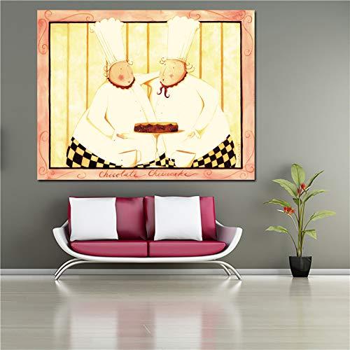 No frame Decoratief schilderij Poster en print Chef en soep Canvas schilderij voor keuken Restaurant Wall Art Home Decor 40x50cm