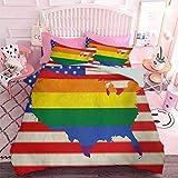 Hiiiman Juego de edredón ligero 3pcs bandera estadounidense con arco iris homosexual matrimonio nacional Derechos e igualdad tema (3 piezas, tamaño doble) microfibra suave