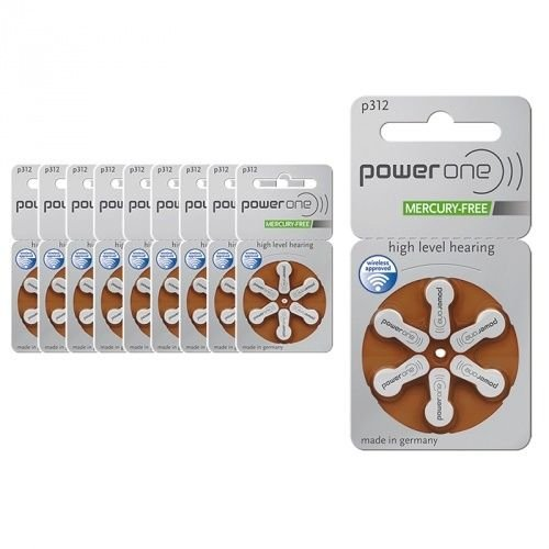 Power One Size 312 MERCURY FREE Hearing Aid Batteries (1Pack (60...